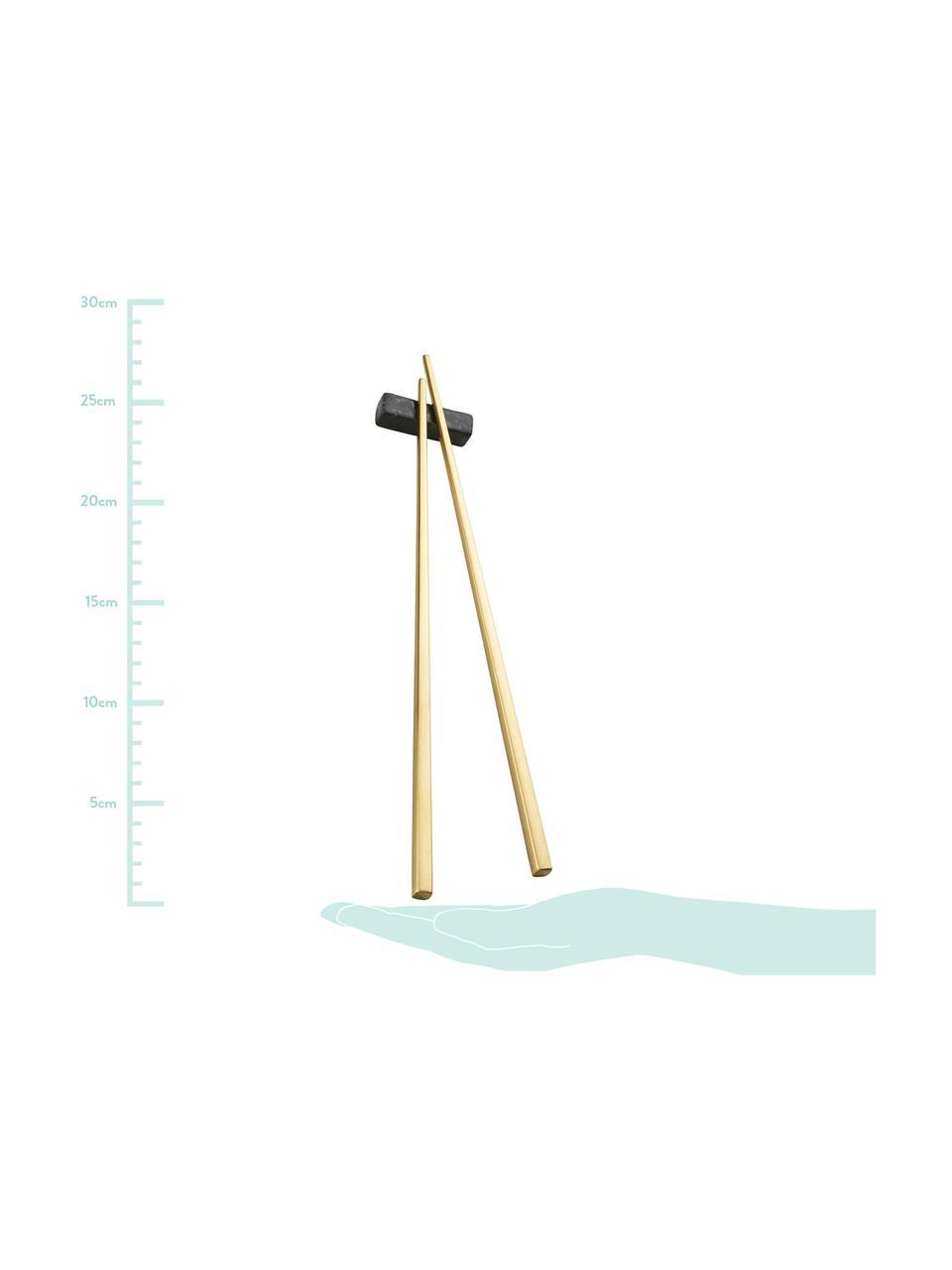 Set de palillos chinos Chop, 2pares, Dorado, negro, L 26 cm
