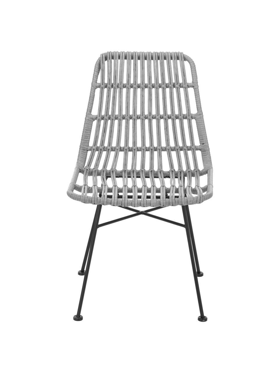 Polyrotan stoelen Costa, 2 stuks, Zitvlak: polyethyleen-vlechtwerk, Frame: gepoedercoat metaal, Zitvlak: grijs, gevlekt. Frame: mat zwart, B 47 x D 61 cm