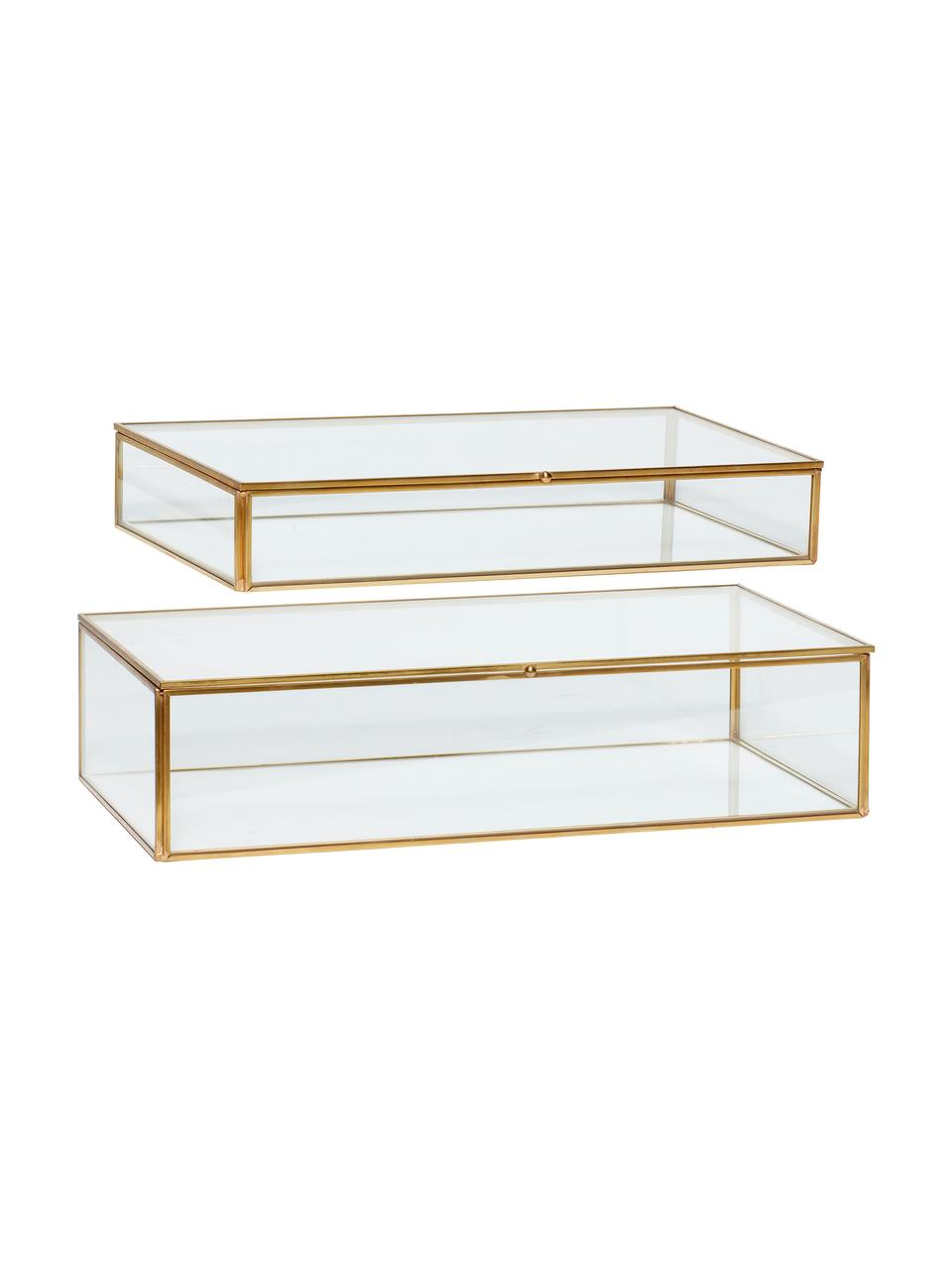 Set 2 scatole Karia, Cornice: ottone, Scatola: vetro, Ottone trasparente, Set in varie misure