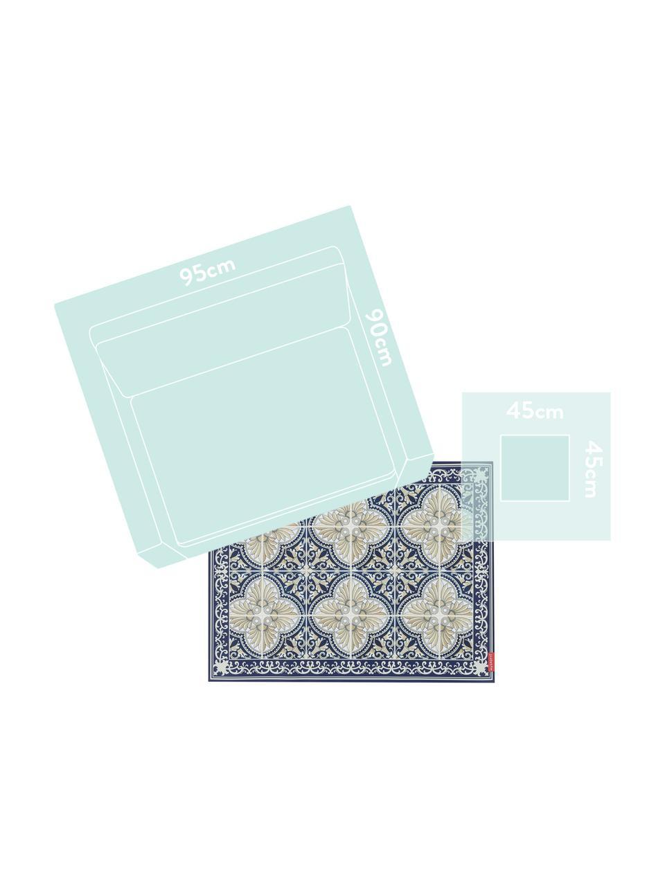 Vinyl-Bodenmatte Luis, Vinyl, Blau, Beige, 136 x 203 cm