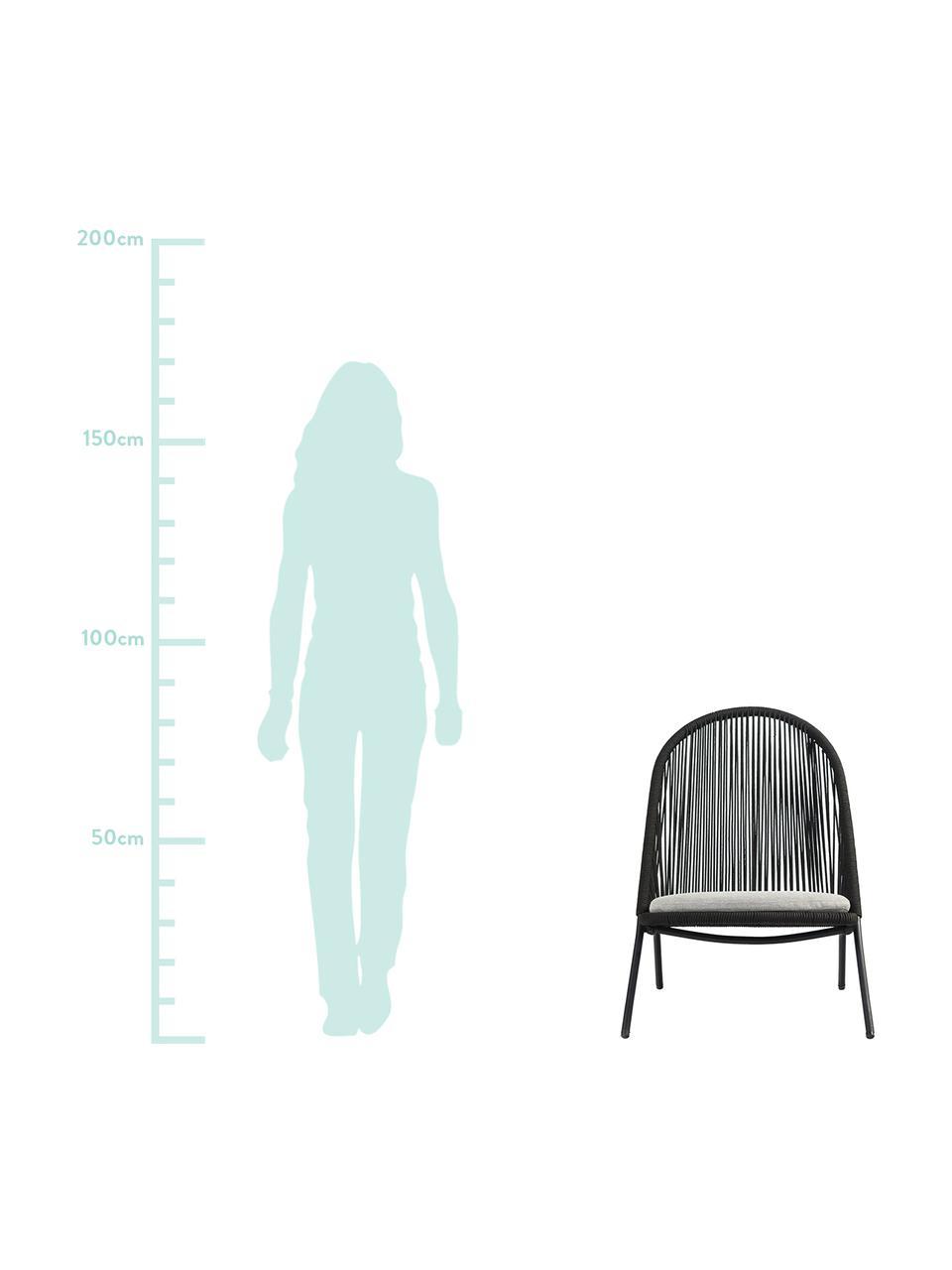 Sedia a poltrona con intreccio in plastica Shann, Seduta: treccia di polietilene, Struttura: metallo verniciato a polv, Nero, grigio chiaro, Larg. 63 x Prof. 73 cm