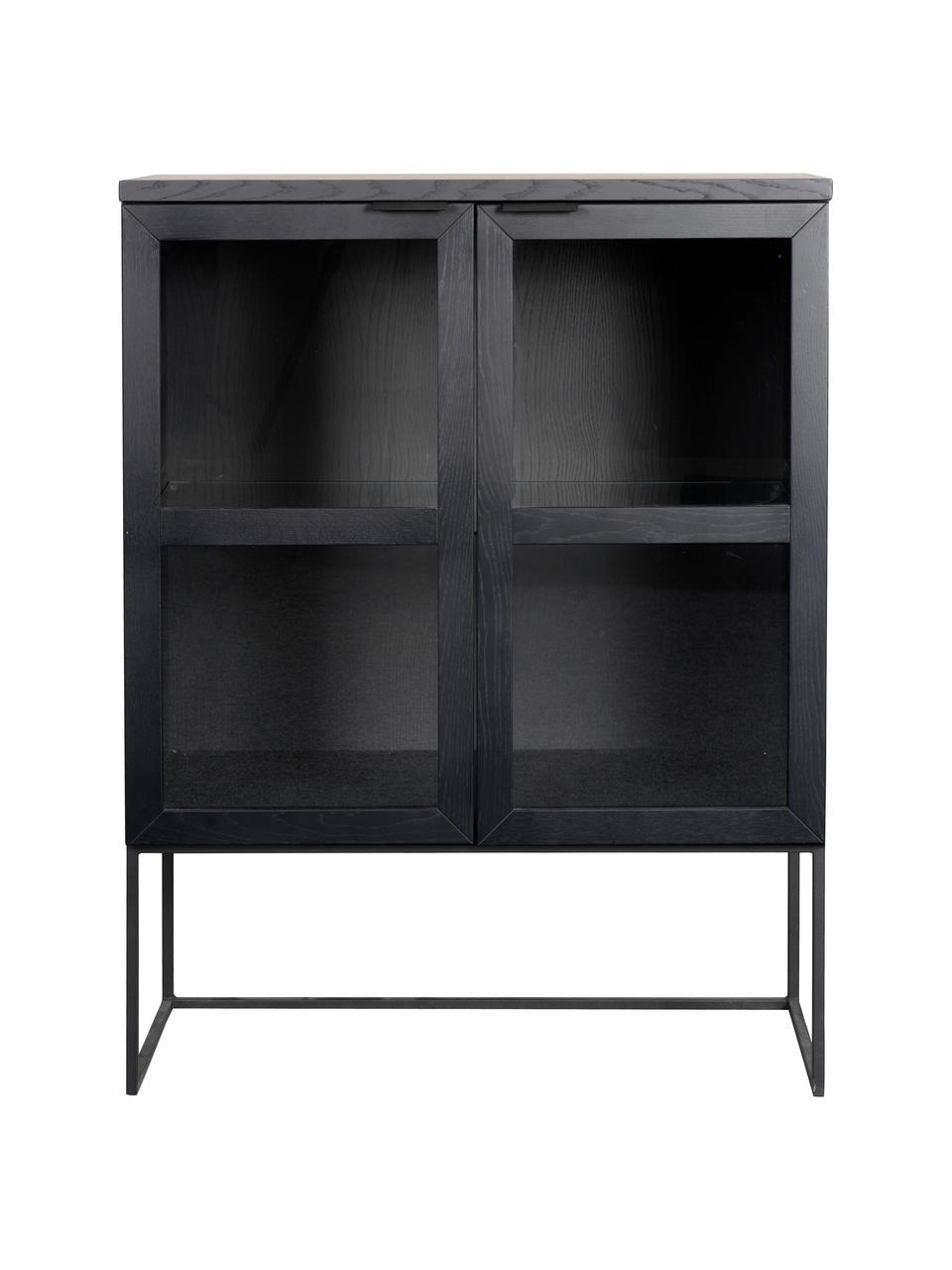 Schwarze Glasvitrine Everett mit Holzrahmen, Korpus: Eichenholz, massiv, lacki, Gestell: Metall, lackiert, Schwarz, 95 x 125 cm