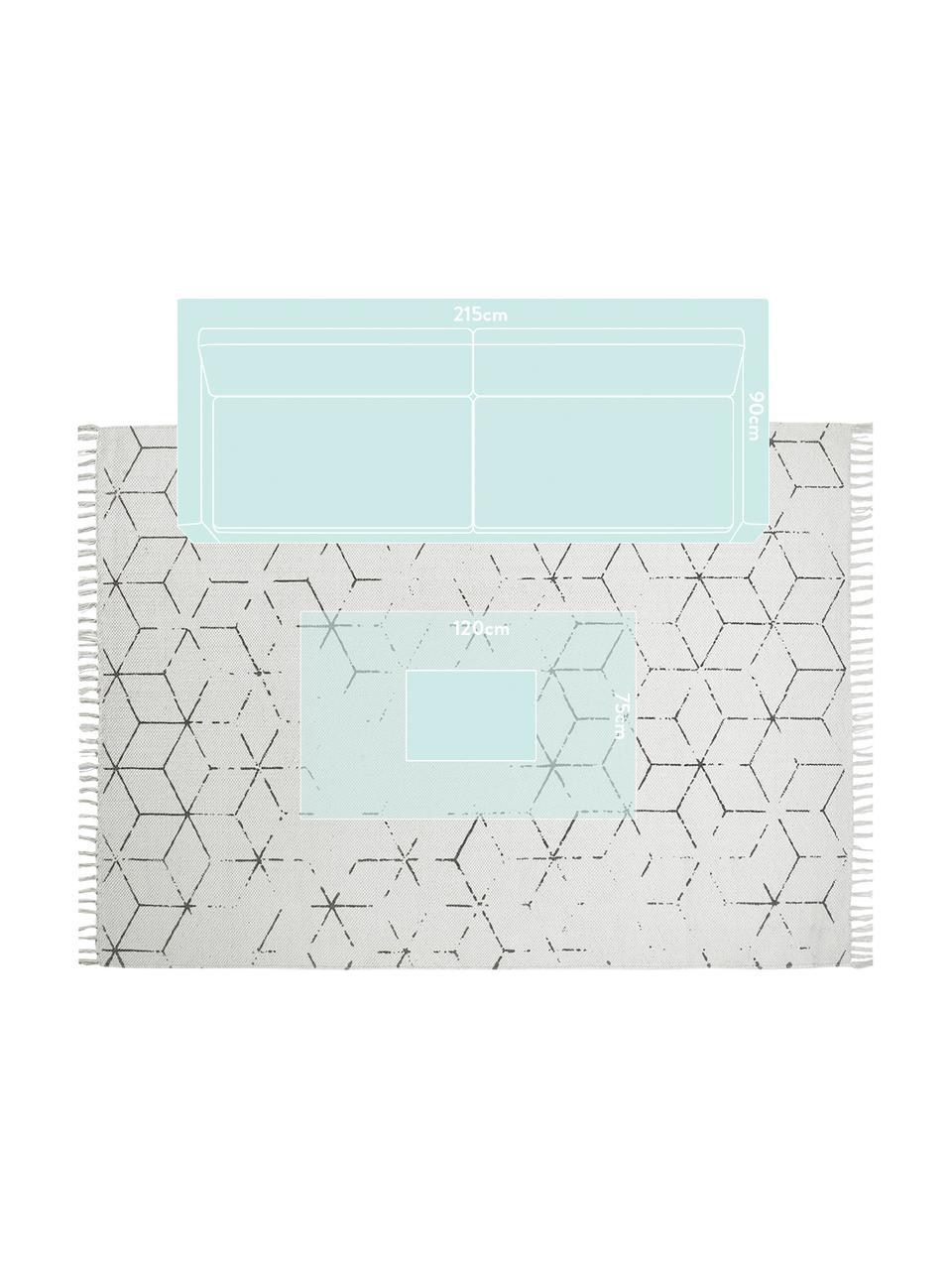 Handgewebter Baumwollteppich Stockholm mit Muster, Gebrochenes Weiß, Grau, B 200 x L 290 cm (Größe L)