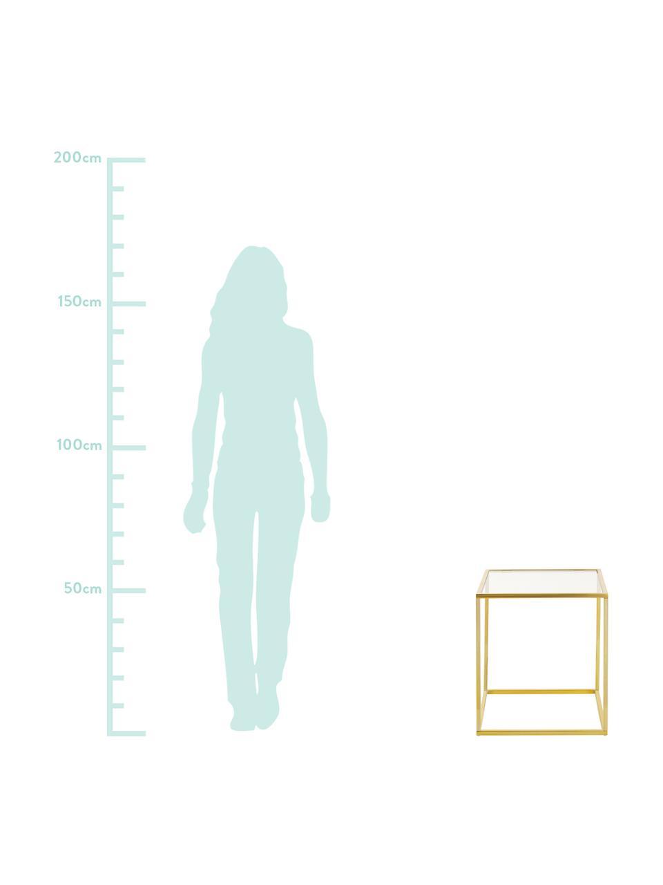 Tavolino con piano in vetro Maya, Piano d'appoggio: vetro temperato, Struttura: metallo, zincato, Piano d'appoggio: vetro trasparente Struttura: dorato lucido, Larg. 45 x Alt. 50 cm
