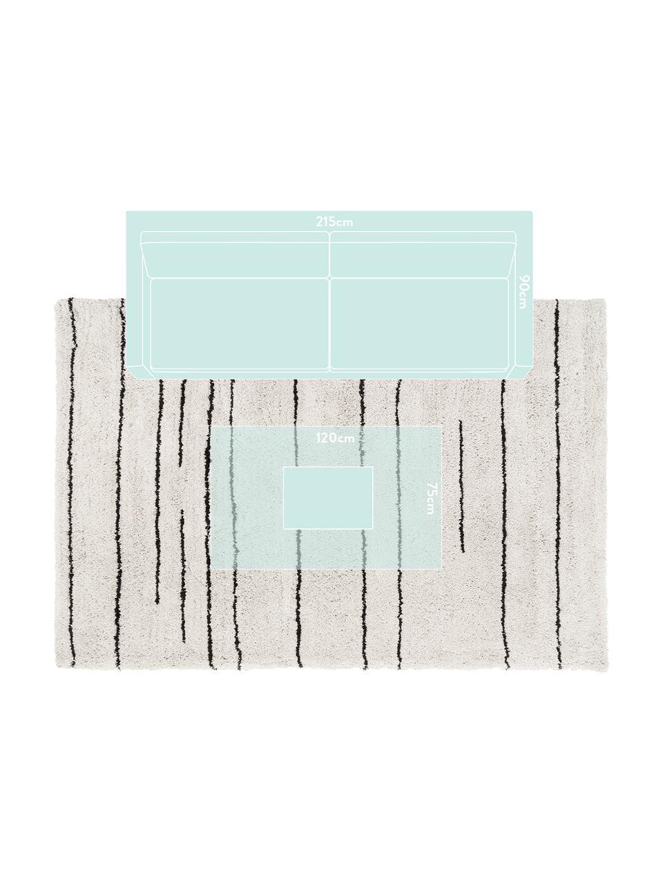 Alfombra artesanal Dunya, Parte superior: 100%poliéster, Reverso: 100%algodón, Beige, negro, An 200 x L 300 cm (Tamaño L)