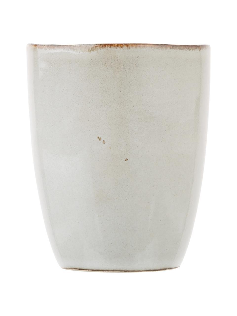 Handgemachte Becher Thalia in Beige, 2 Stück, Steingut, Beige, Ø 9 x H 11 cm