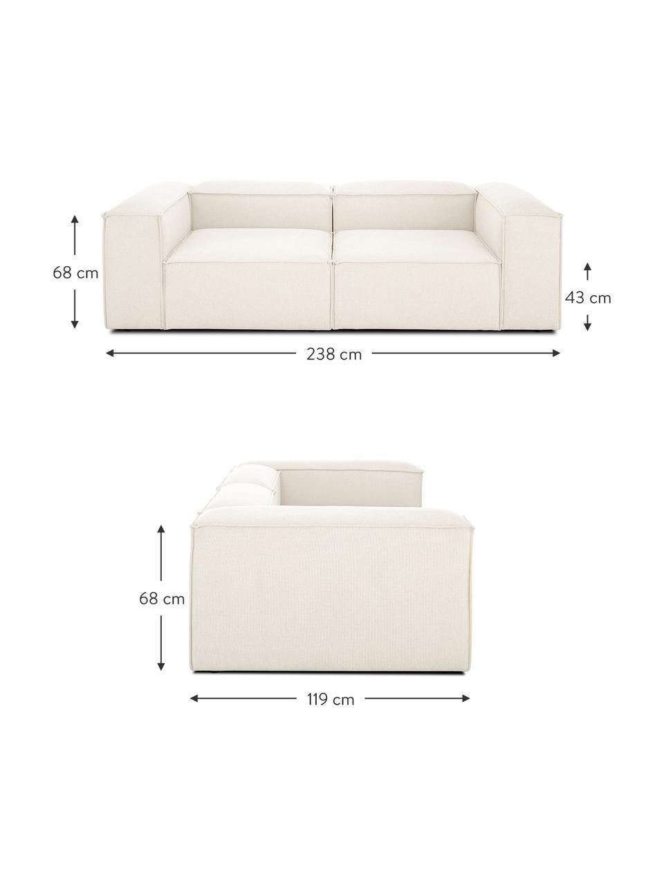 Modulares Sofa Lennon (3-Sitzer) in Beige, Bezug: Polyester Der hochwertige, Gestell: Massives Kiefernholz, Spe, Füße: Kunststoff Die Füße befin, Webstoff Beige, B 238 x T 119 cm