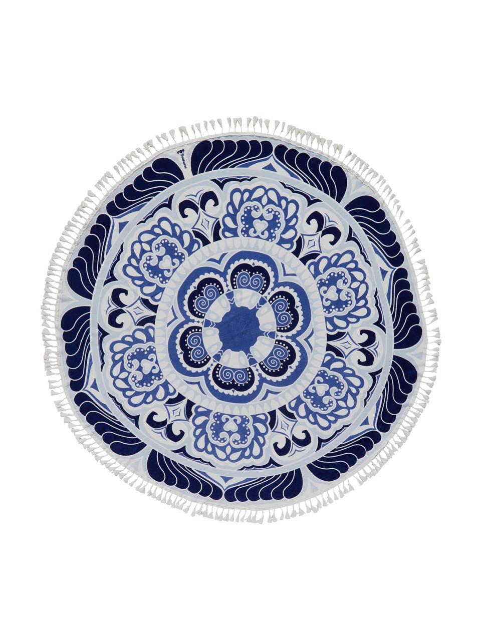 Strandlaken Carouse, Blauwtinten, wit, Ø 150 cm