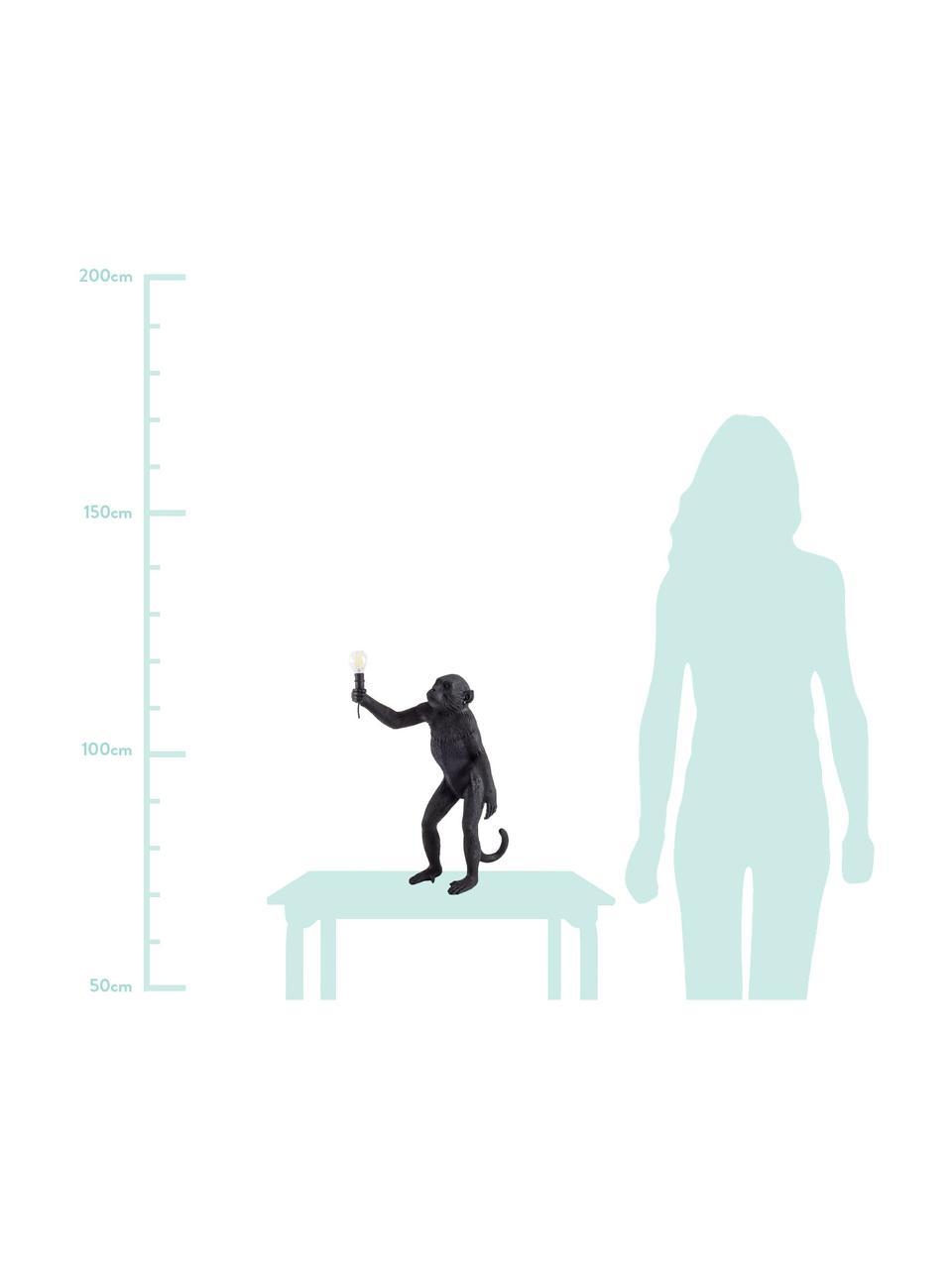 Designová venkovní stolní lampa se zástrčkou Monkey, Černá