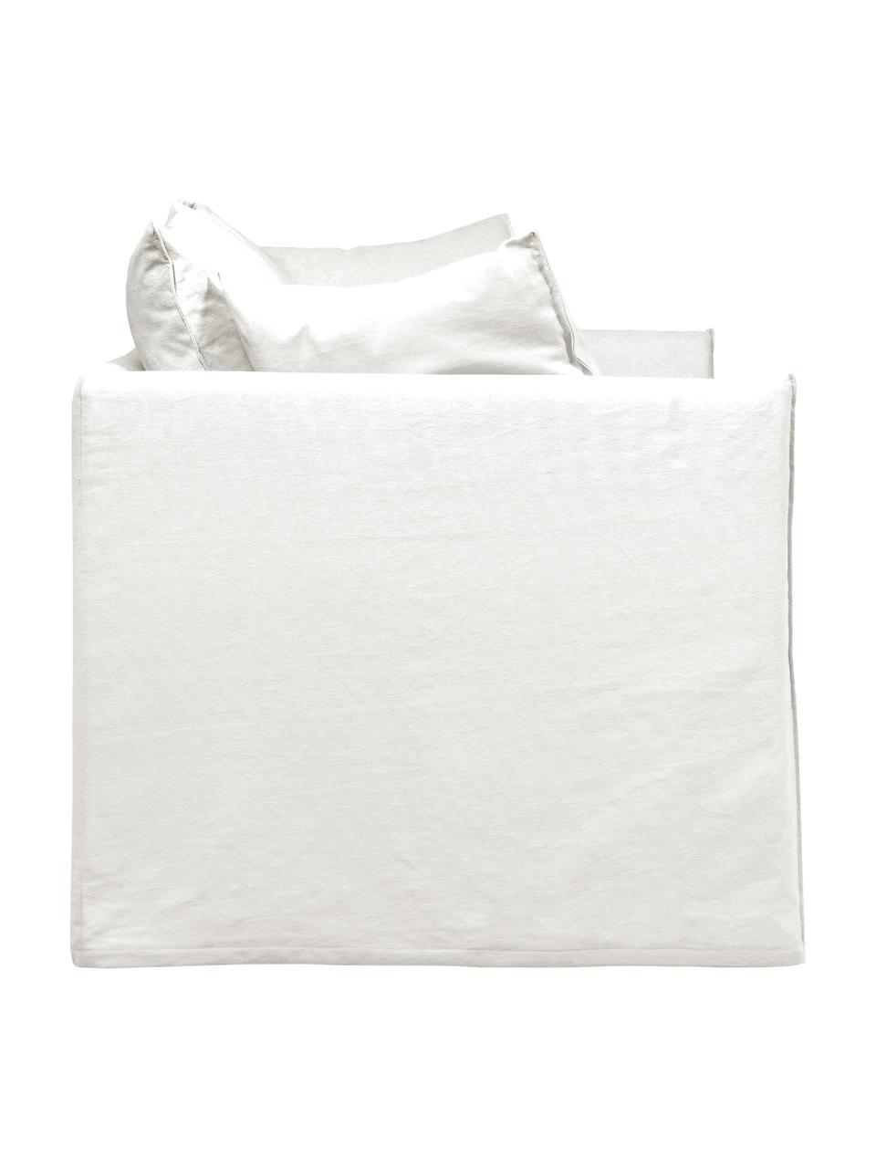 Divano 3 posti in tessuto bianco crema Mila, Rivestimento: cotone 26.000 cicli di sf, Struttura: legno di abete rosso mass, Piedini: materiale sintetico, Bianco crema, Larg. 195 x Prof. 82 cm
