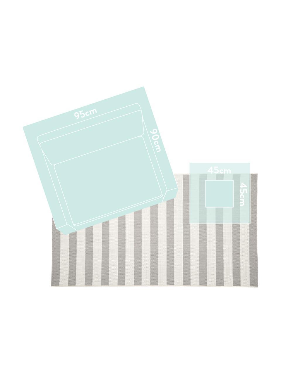 Gestreifter In- & Outdoor-Teppich Axa in Grau/Weiß, 86% Polypropylen, 14% Polyester, Cremeweiß, Grau, B 200 x L 290 cm (Größe L)