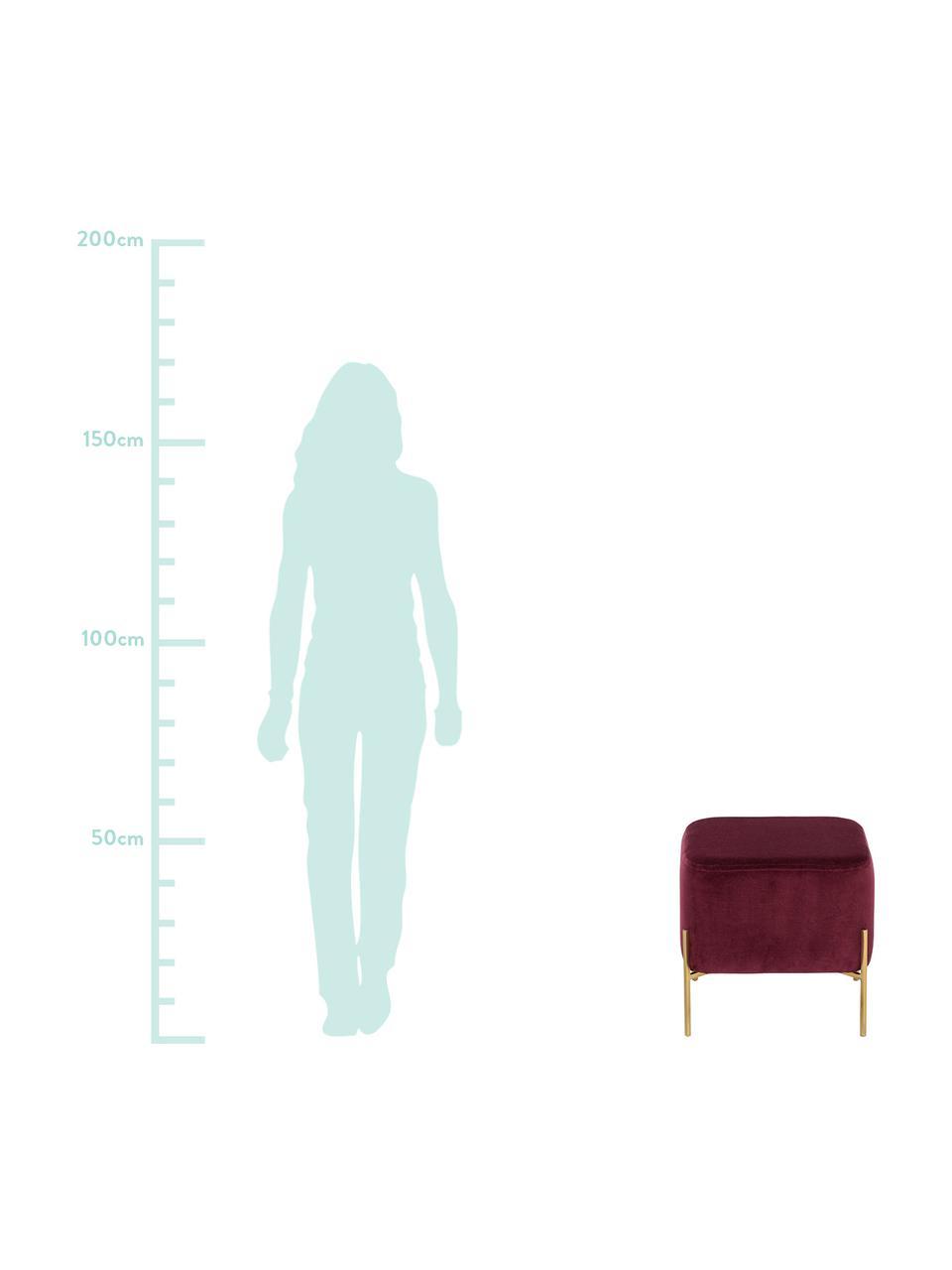 Pouf in velluto Harper, Rivestimento: velluto, Gambe: metallo verniciato a polv, Rosso scuro, oro, Larg. 46 x Alt. 44 cm