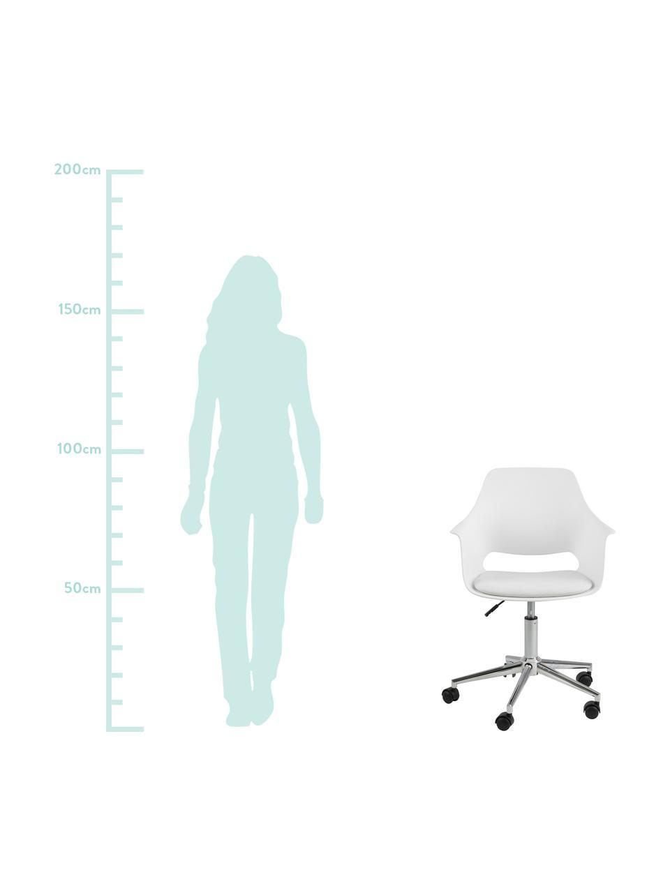 Bürodrehstuhl Ramona, höhenverstellbar, Beine: Metall, verchromt, Weiß, B 57 x T 53 cm