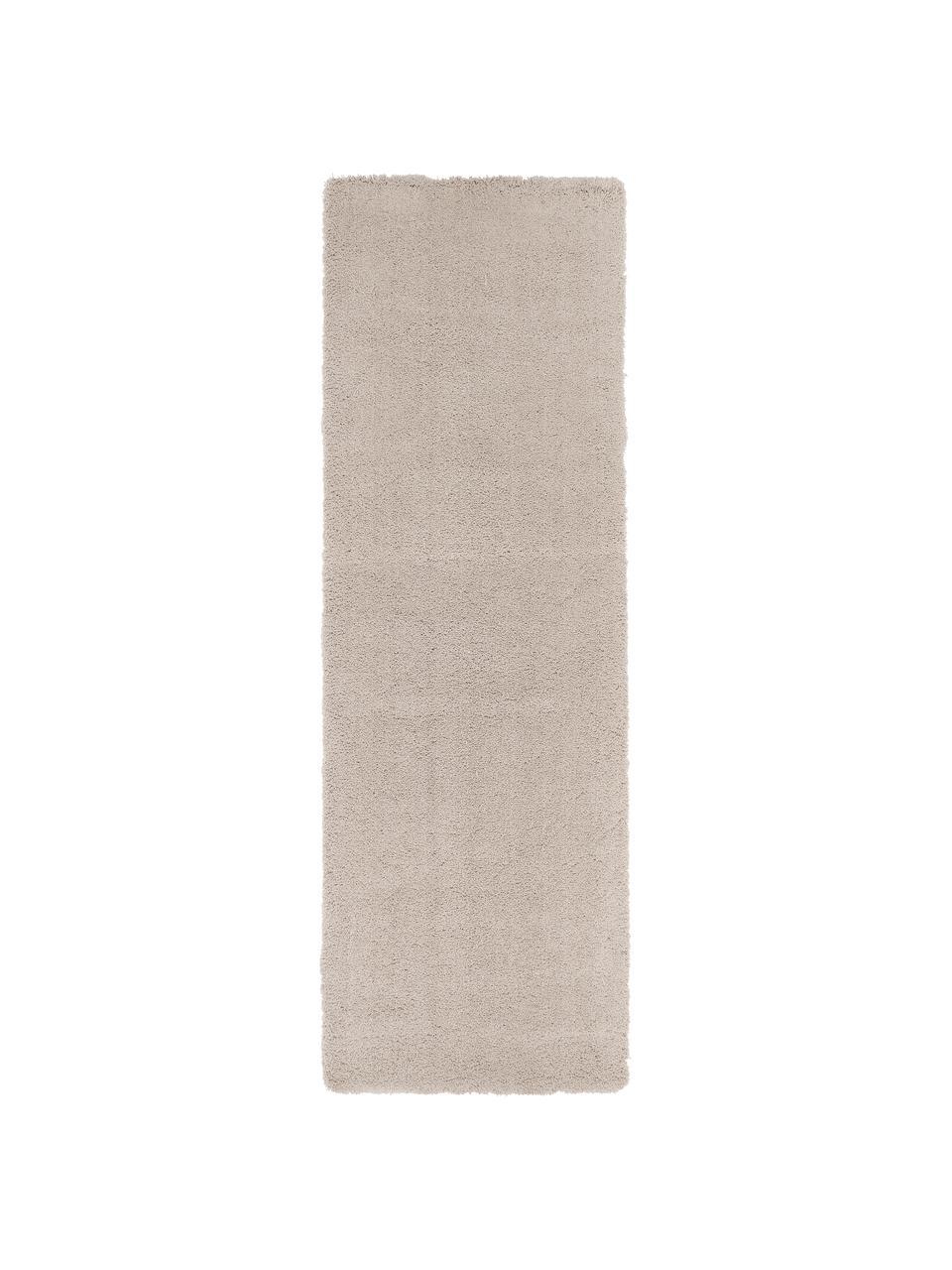 Passatoia pelosa morbida beige Leighton, Retro: 70% poliestere, 30% coton, Beige-marrone, Larg. 80 x Lung. 250 cm