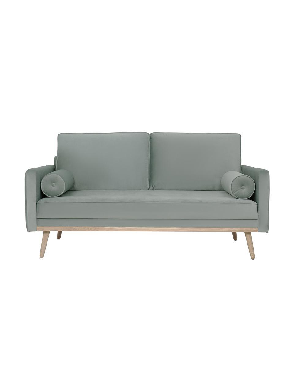 Sofa z aksamitu z nogami z drewna dębowego Saint (2-osobowa), Tapicerka: aksamit (poliester) Dzięk, Aksamitny odcień szałwii, S 169 x G 87 cm