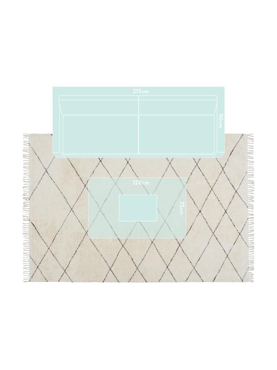 Tappeto in cotone Less, 100% cotone, Bianco latteo, nero, Larg. 160 x Lung. 230 cm (taglia M)