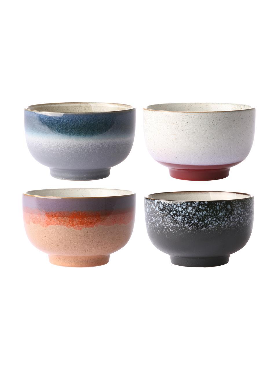 Set 4 ciotole retrò fatte a mano 70's, Ceramica, Multicolore, Ø 14 x Alt. 8 cm