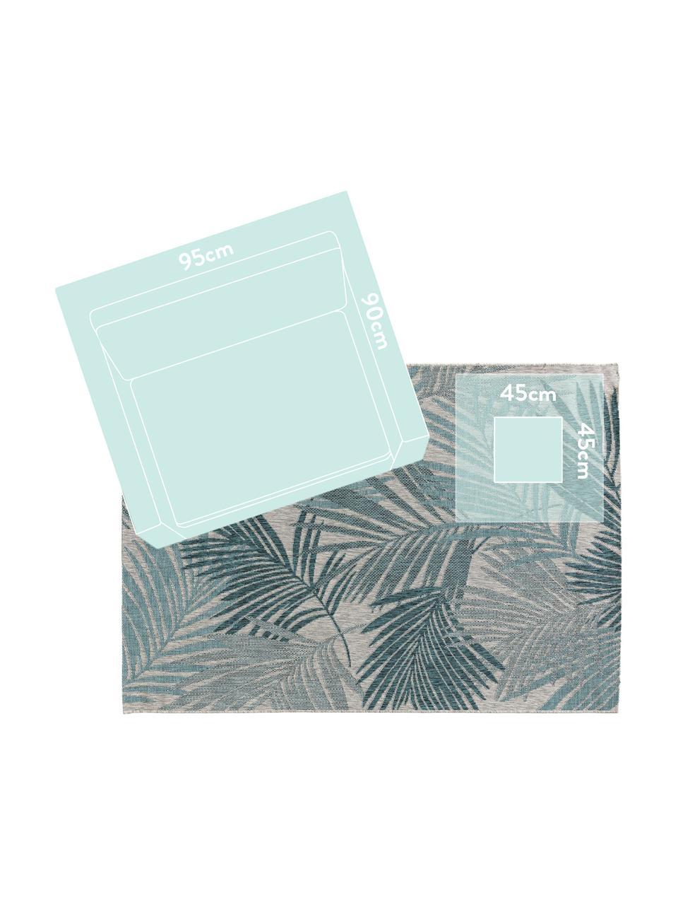 In- & Outdoor-Teppich Cleo mit Palmenblattmotiv, 90% Polypropylen, 10% Polyester, Blau, B 80 x L 150 cm (Größe XS)