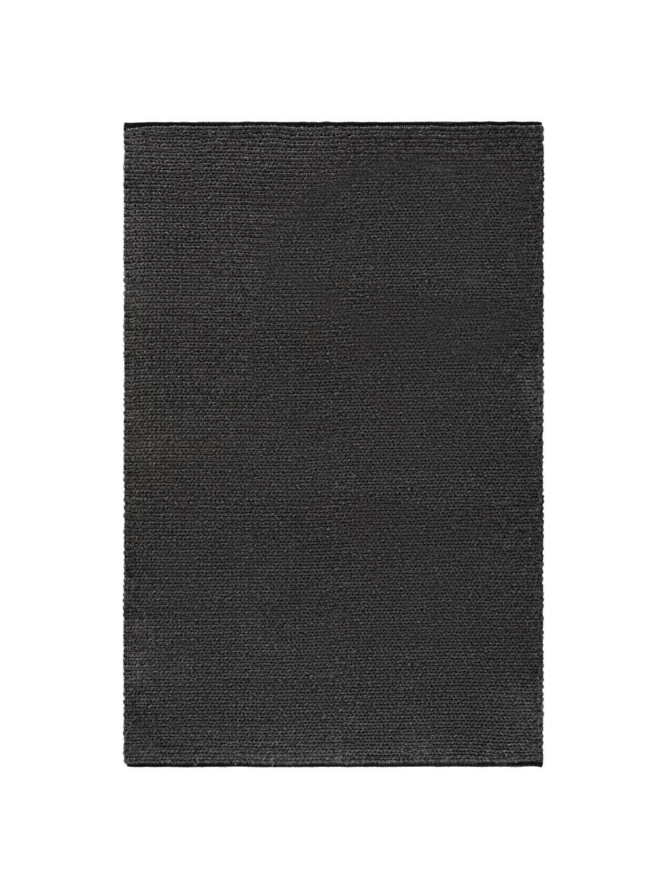 Handgewebter Wollteppich Uno in Dunkelgrau meliert mit geflochtener Struktur, 60% Wolle, 40% Polyester, Dunkelgrau, meliert, B 160 x L 230 cm (Größe M)