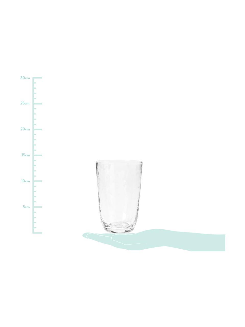 Mondgeblazen waterglazen Hammered, 4 stuks, Mondgeblazen glas, Transparant, Ø 9 x H 14 cm