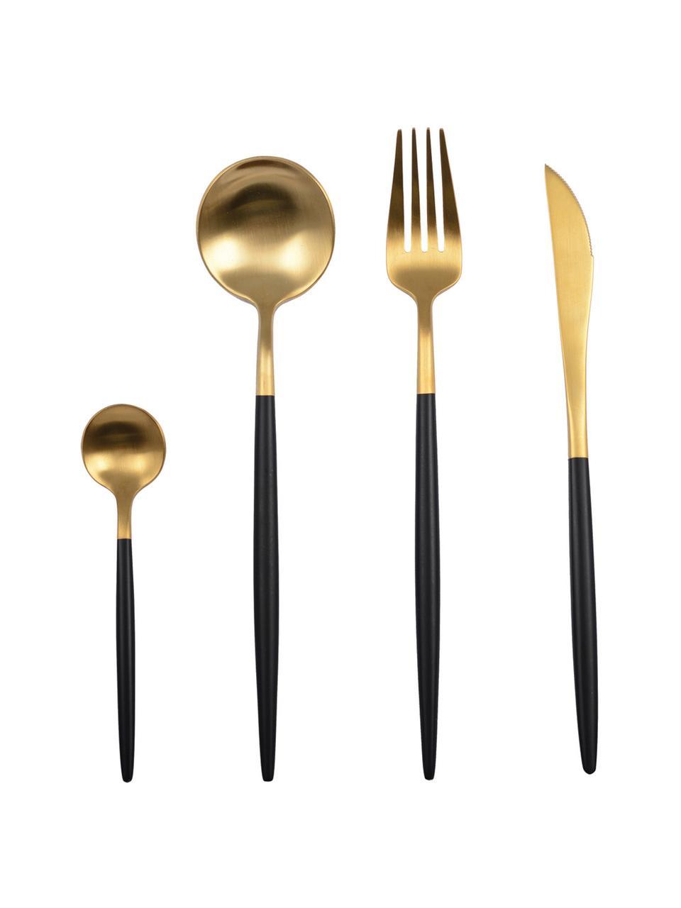 Ménagère dorée mate Faina, 6personnes (24élém.), Couleur laitonnée, noir