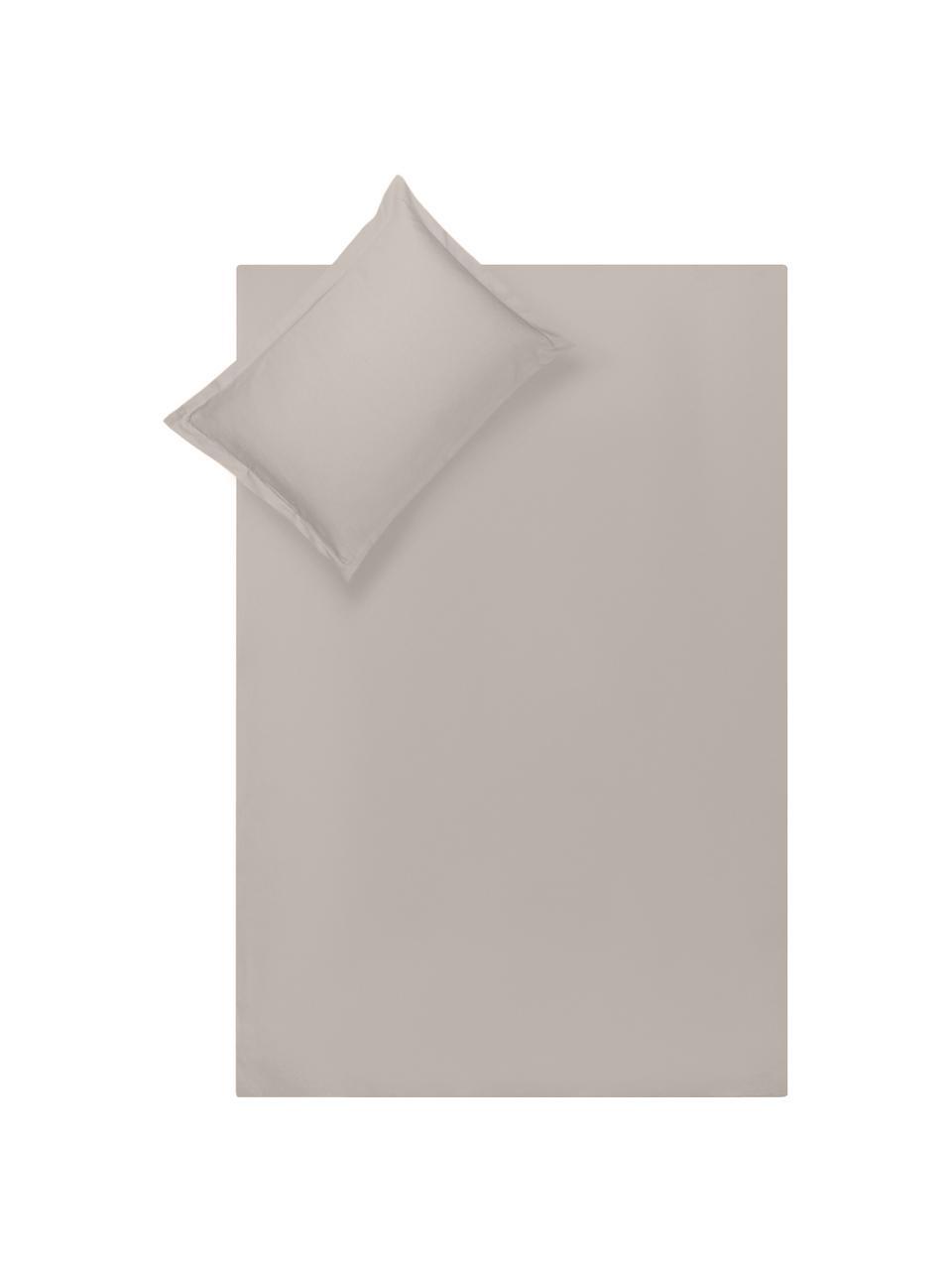 Parure copripiumino in raso di cotone taupe Premium, Tessuto: raso, leggermente lucido, Taupe, 155 x 200 cm