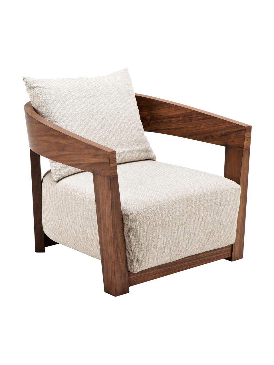 Poltrona con braccioli in legno Rubautelli, Rivestimento: 58% poliestere, 42% olefi, Struttura: pannelli di fibre a media, Tessuto beige, Larg. 74 x Prof. 80 cm