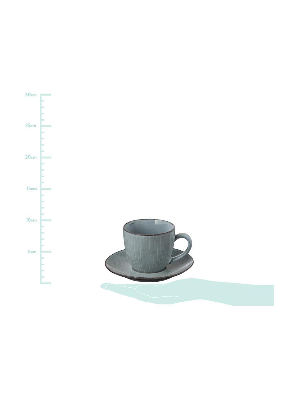Tasse avec sous-tasse faites à la main Nordic Sea, Tons gris et bleus