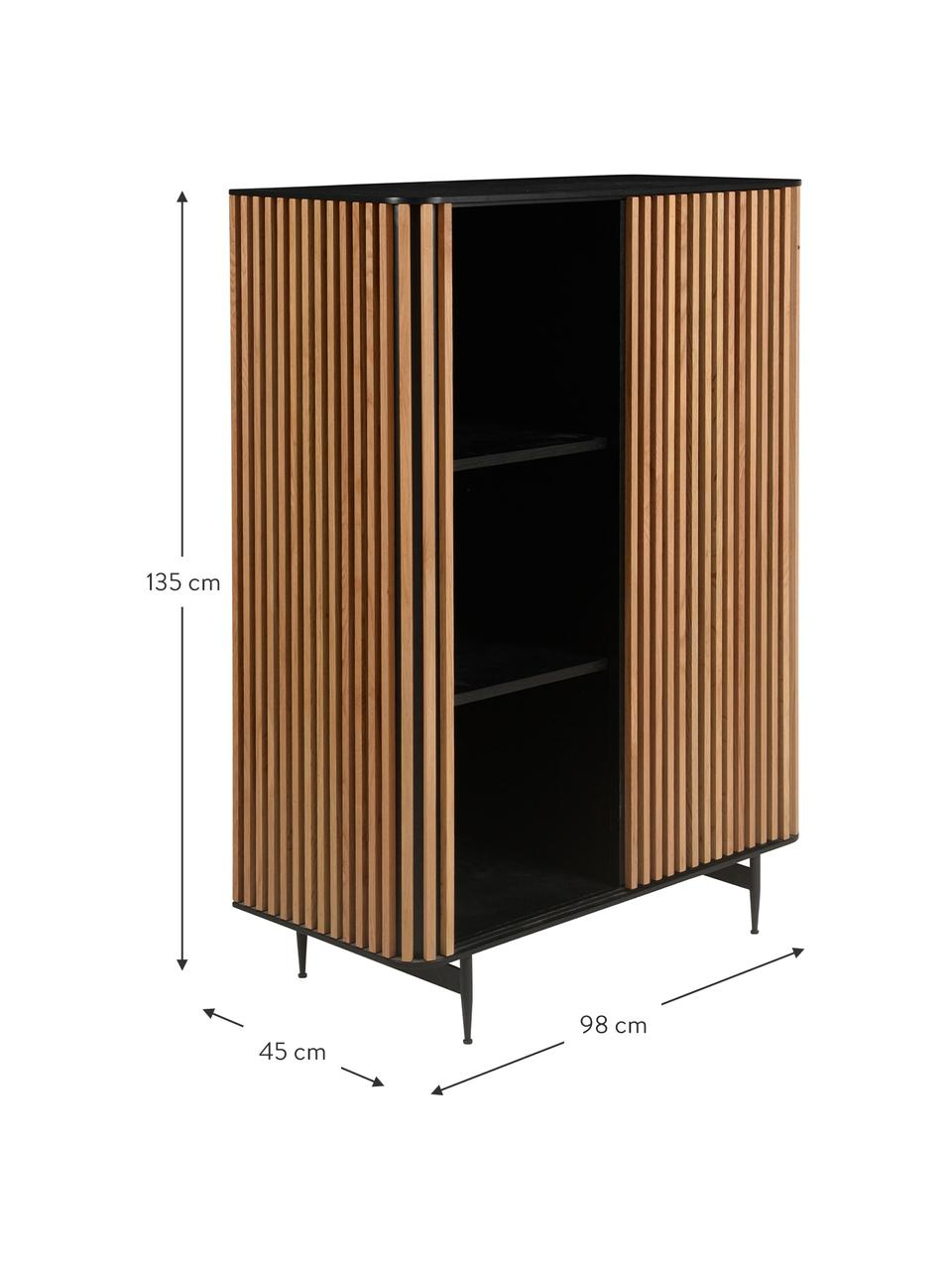 Design highboard Linea met schuifdeur en eikenhoutfineer, Frame: gelakt MDF met eikenhoutf, Poten: gelakt metaal, Zwart, eikenhoutkleurig, 98 x 135 cm