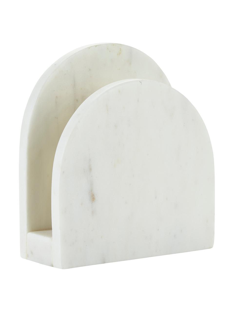 Marmeren servettenhouder Charlton, Gepolijst marmer, Wit, 15 x 14 cm