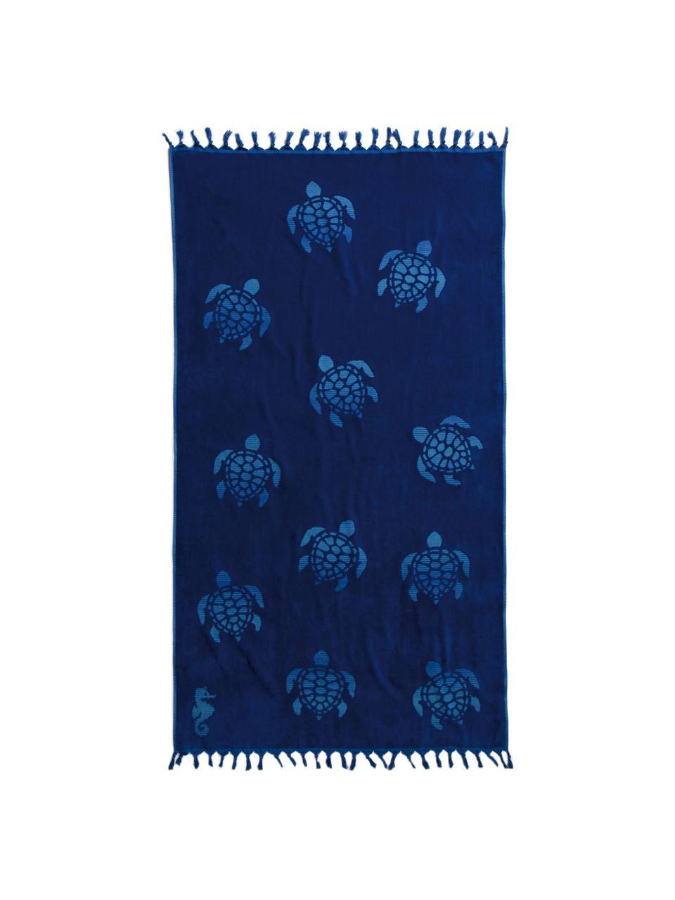 Hamamdoek Tartaruga, Katoen, Donkerblauw, 100 x 180 cm