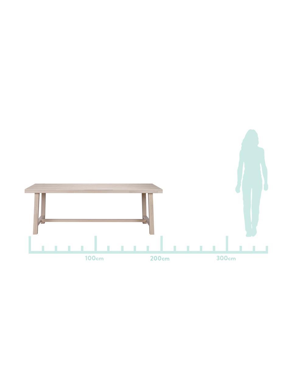 Großer Massivholz Esstisch Brooklyn, Massives Eichenholz, weiß gewaschen und geölt, Eiche, weiß gewaschen, B 220 x T 95 cm