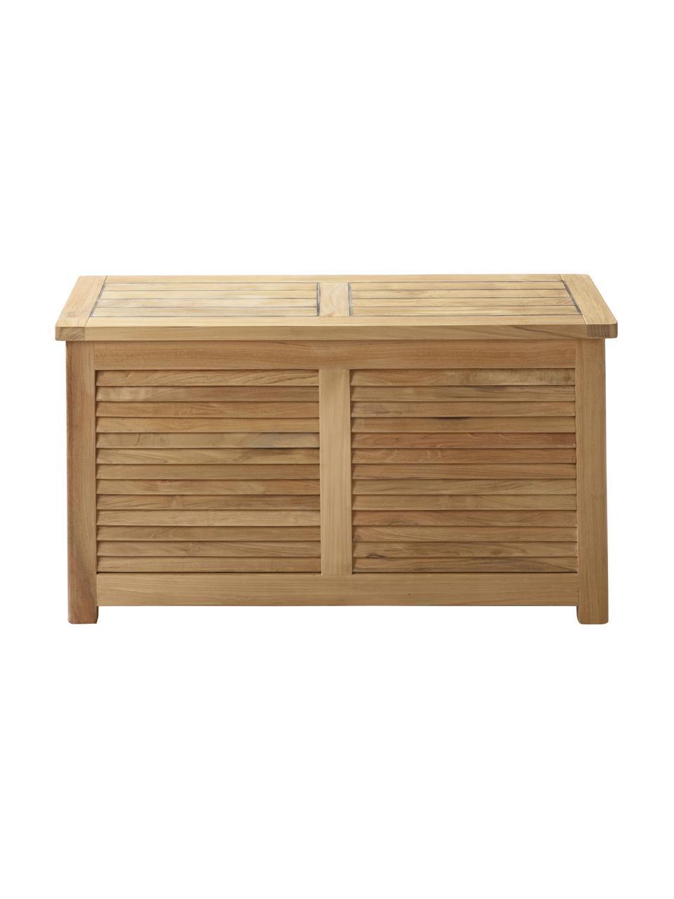 Schmale Auflagentruhe Storage aus Holz, Korpus: Teakholz, geschliffen, Teak, 90 x 48 cm