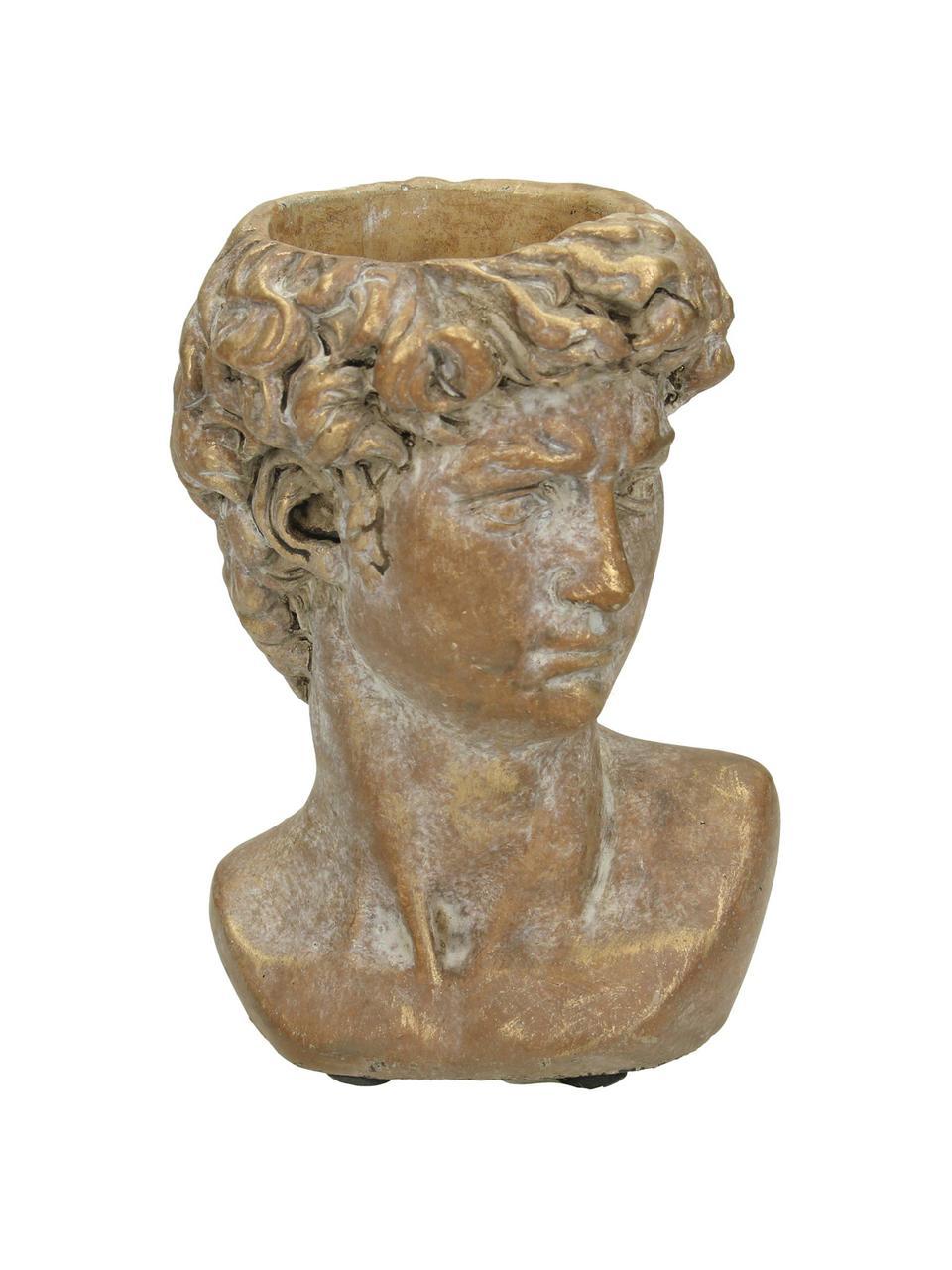 Portavaso in cemento David, Cemento, Marrone, dorato con finitura antica, Larg. 10 x Alt. 15 cm