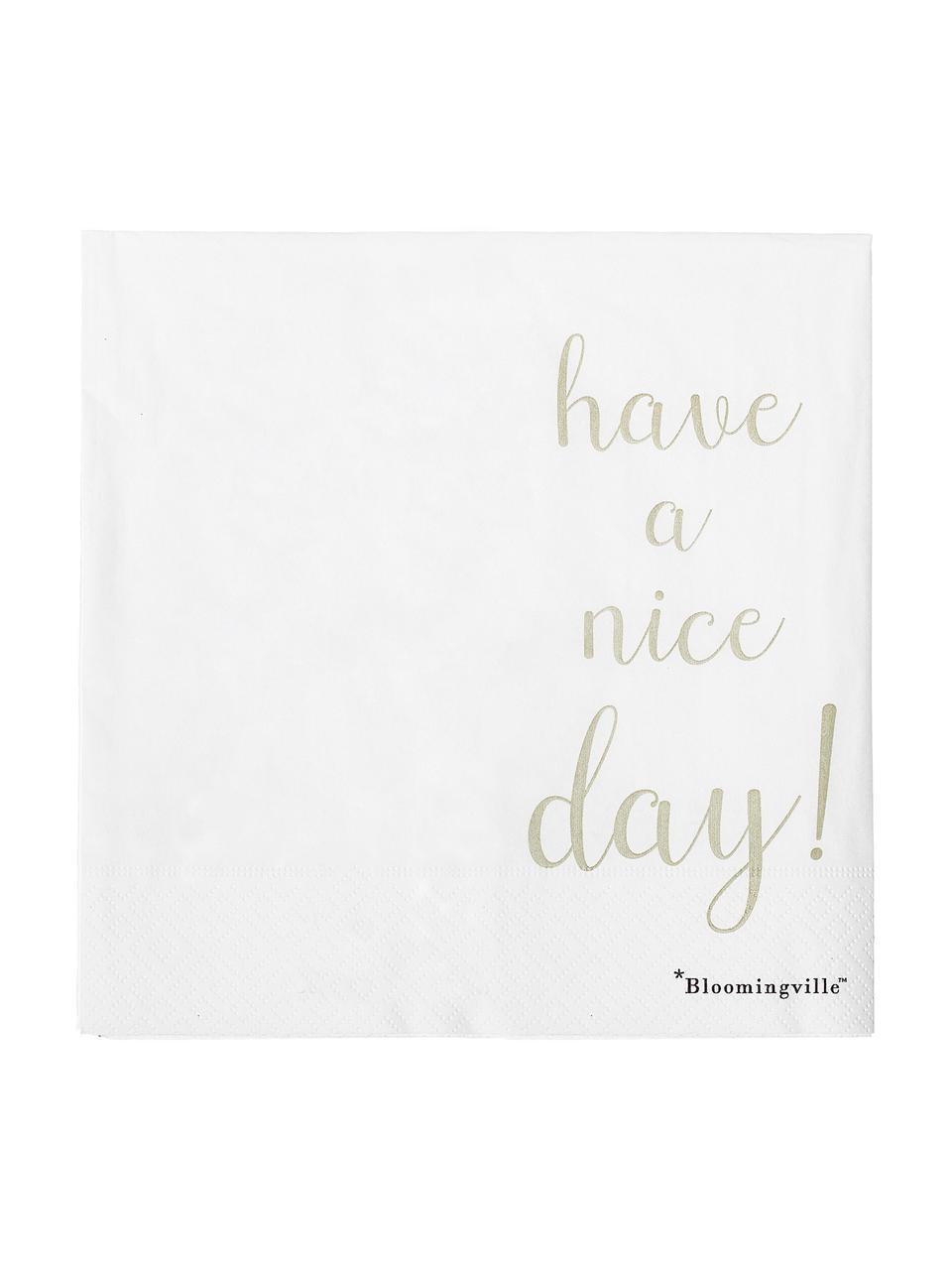 Papier-Servietten Nipps, 16 Stück, Papier, Weiß, Goldfarben, 40 x 40 cm
