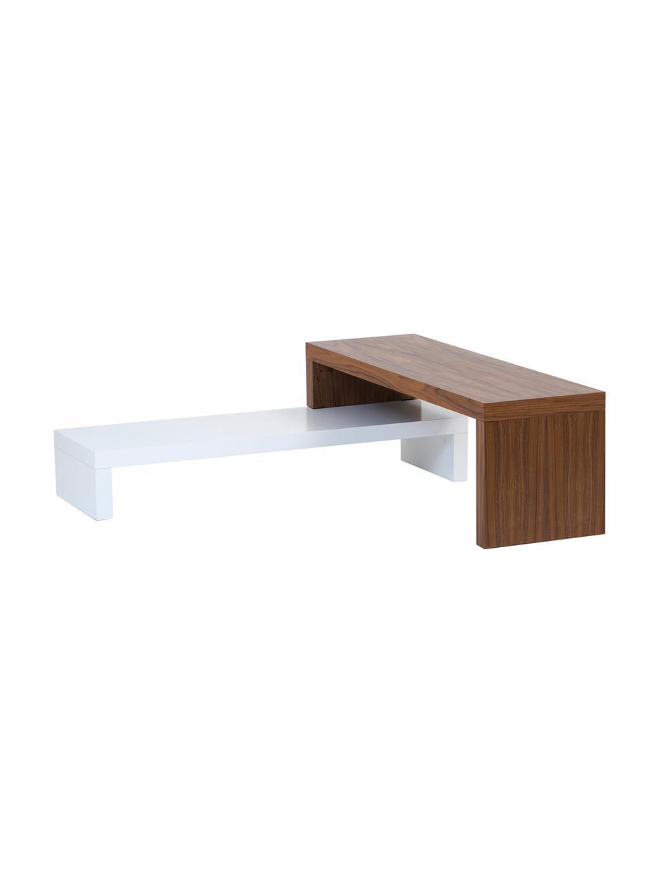 Mobile TV Cliff, Superficie: finitura naturale, Bianco, marrone, Larg. 125 x Alt. 40 cm