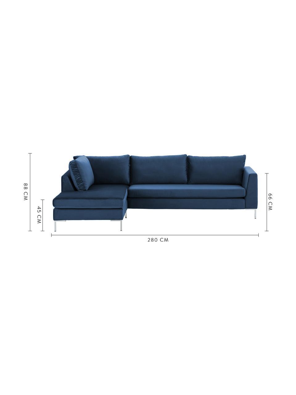 Canapé d'angle velours Luna, Velours bleu, argent