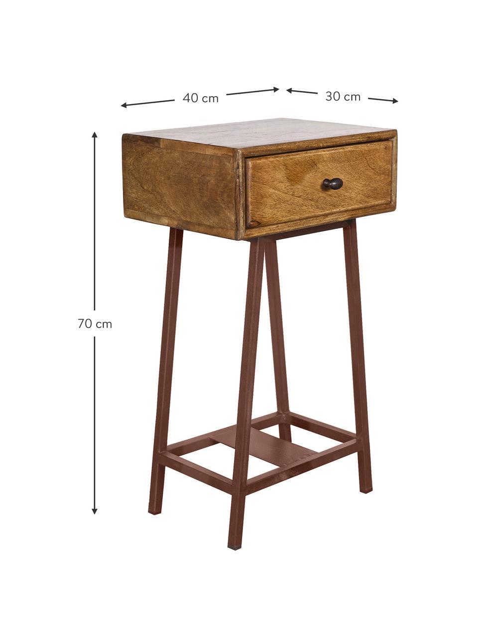 Stolik pomocniczy z szufladą Skybox, Drewno sosnowe, rdzawobrązowy, S 40 x W 70 cm