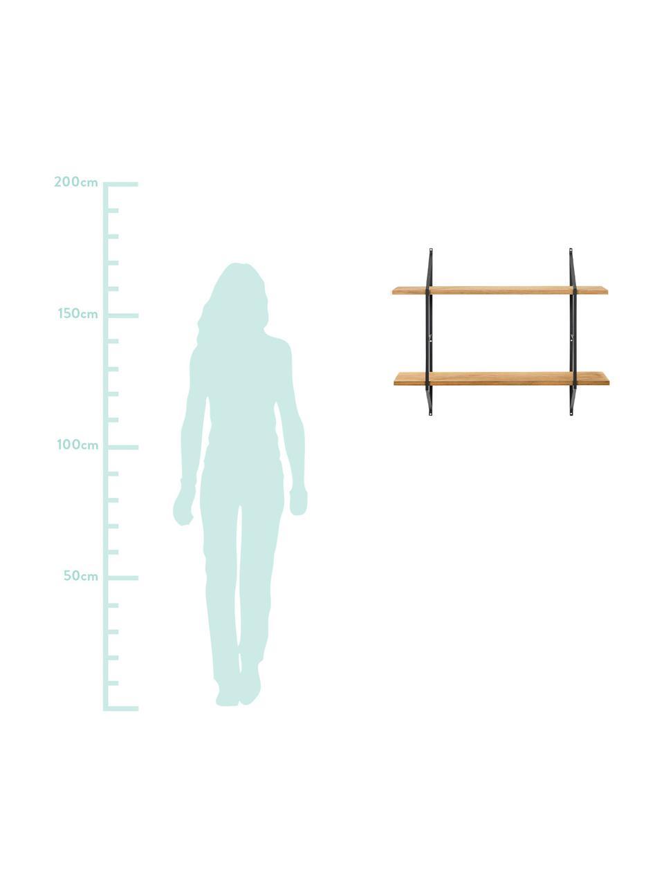 Mensola a muro in legno Belfast, Struttura: metallo verniciato a polv, Ripiani: legno di paulownia, oliat, Struttura: nero<br>Ripiani: legno di paulownia oliato, Larg. 76 x Alt. 63 cm