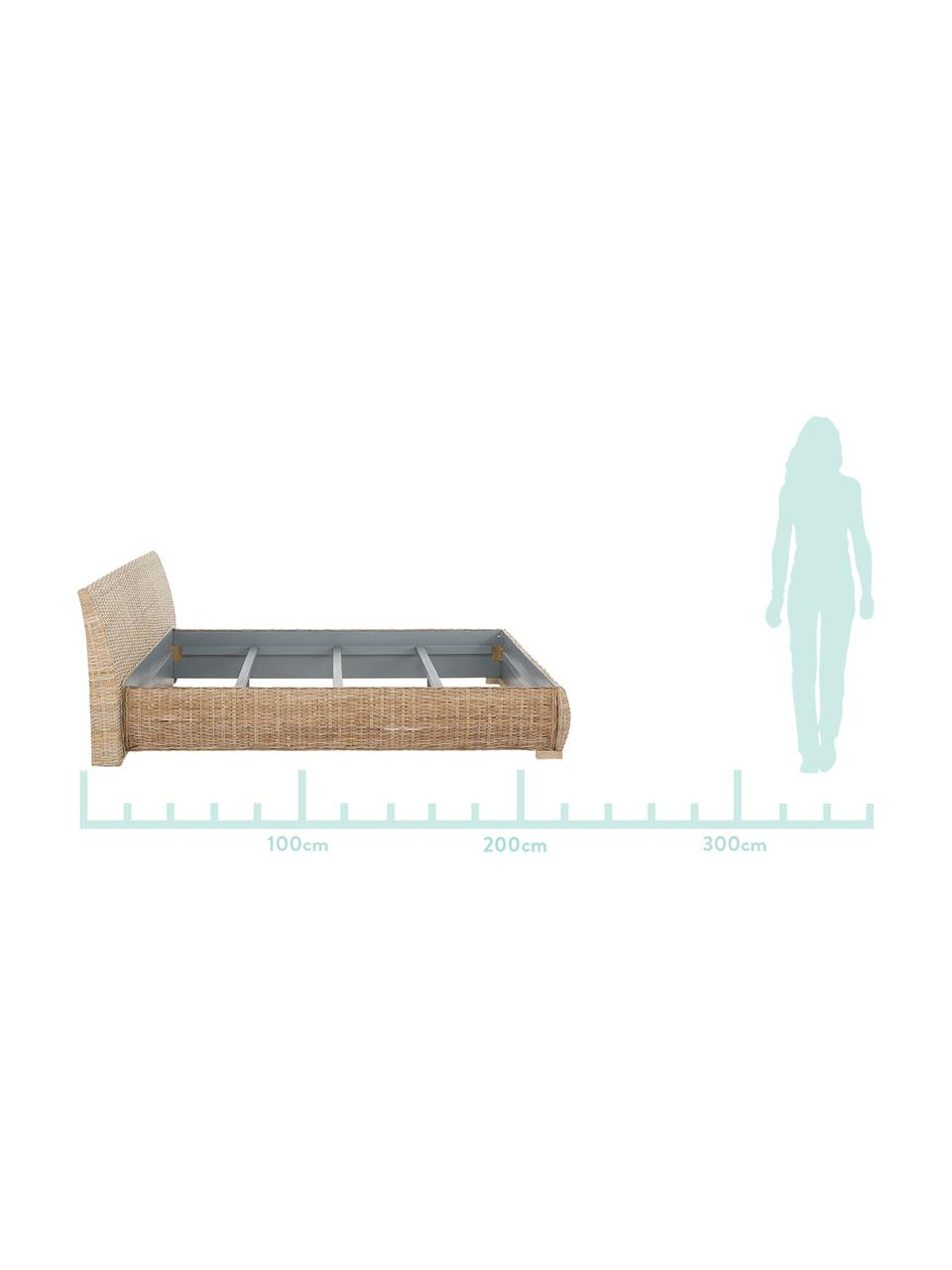 Rattanbett Kubu, Rahmen: Rattan, getönt, Rattan, 160 x 200 cm