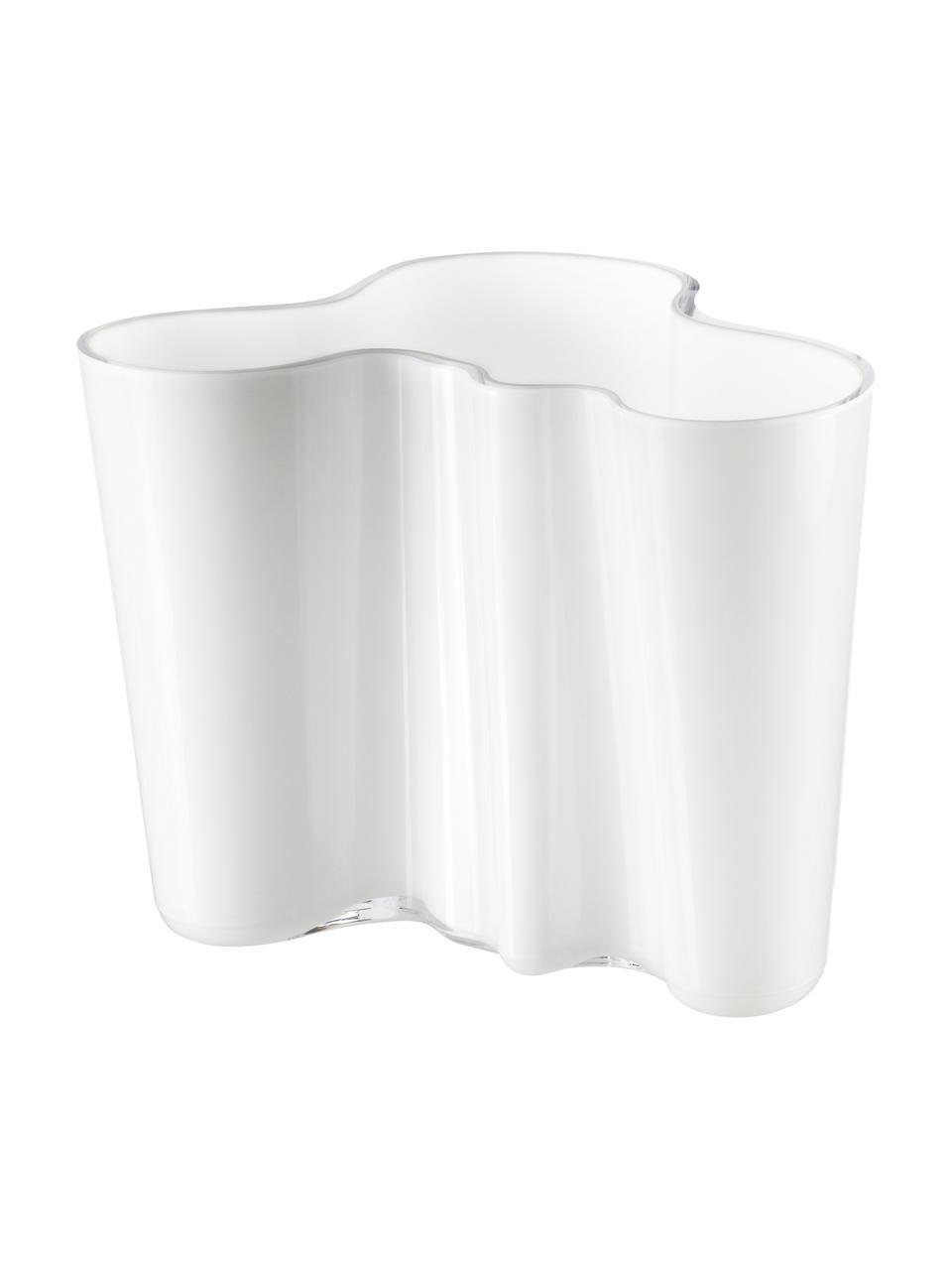 Vaso di design Alvar Aalto, Vetro, Bianco, Alt. 16 cm