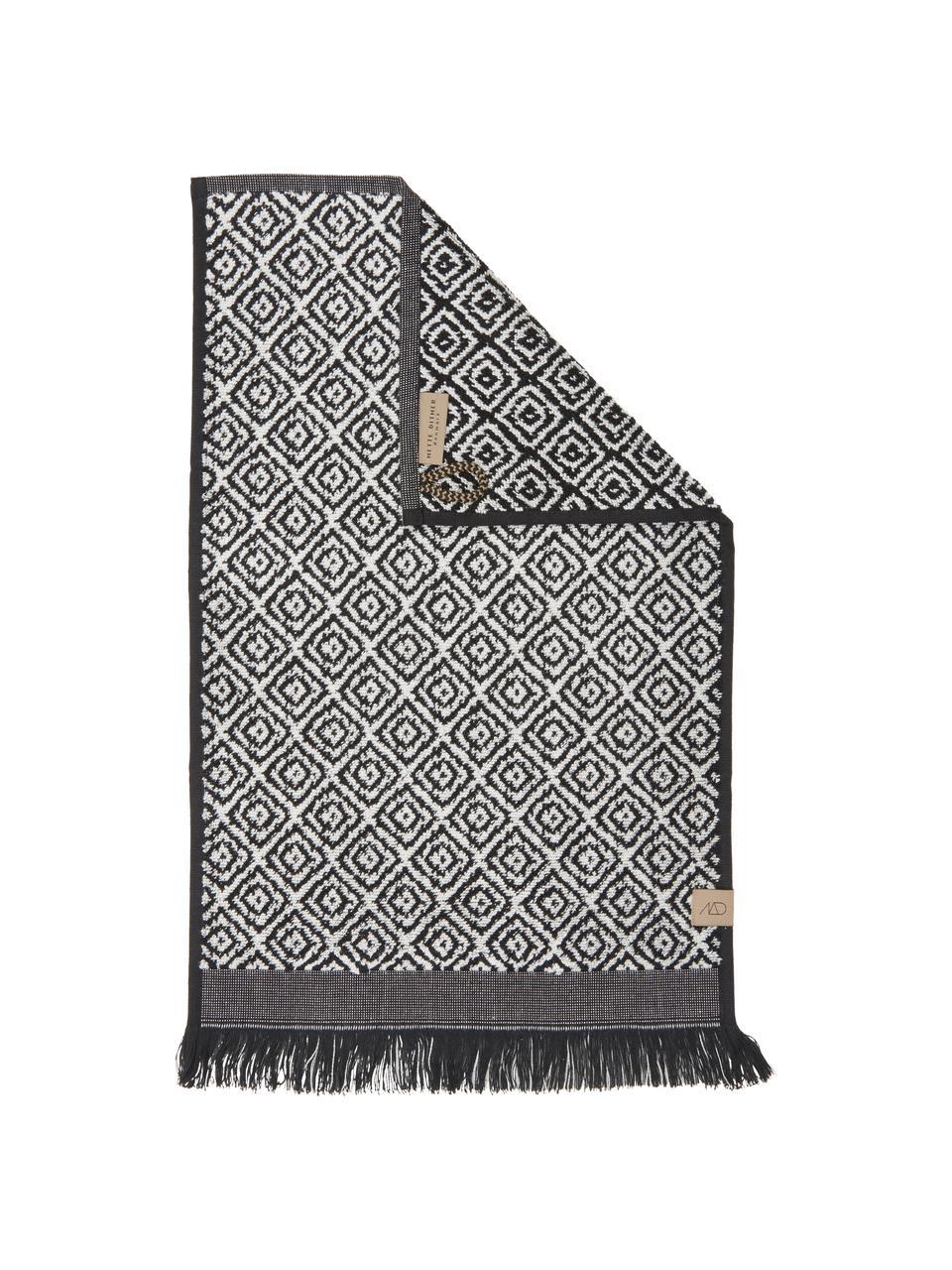 Ręcznik Morocco, Czarny, biały, Ręcznik dla gości