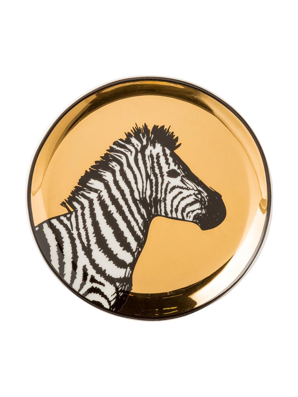 Designer-Untersetzer-Set Animalia, 4-tlg., Porzellan, Gold,Schwarz,Weiß, Ø 10 cm