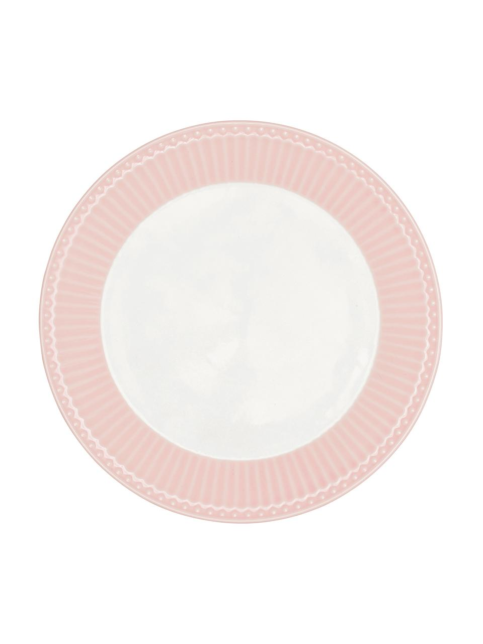 Assiettes à dessert en porcelaine Alice, 2pièces, Rose, blanc