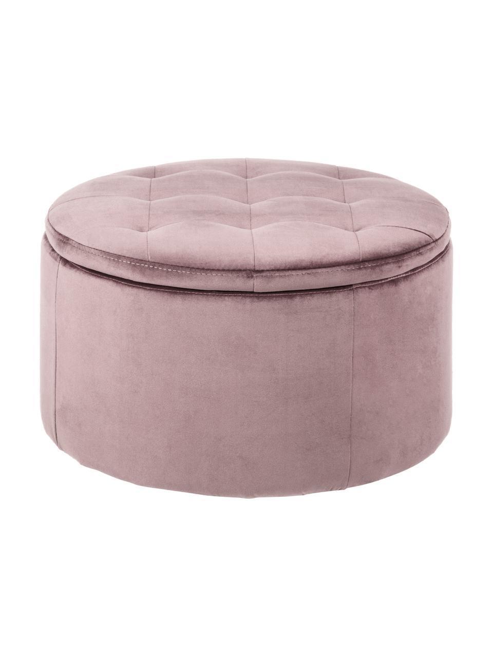 Pouf contenitore in velluto Retina, Rivestimento: velluto di poliestere 25., Struttura: materiale sintetico, Rosa cipria, Ø 60 x Alt. 35 cm