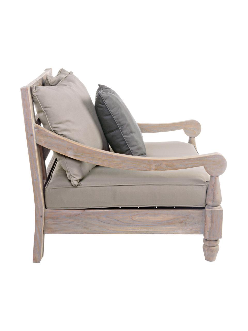 Tuinloungefauteuil  Bali  van teakhout, Frame: teakhout, Bekleding: 100% polyester, UV- en wa, Rood, 90 x 90 cm