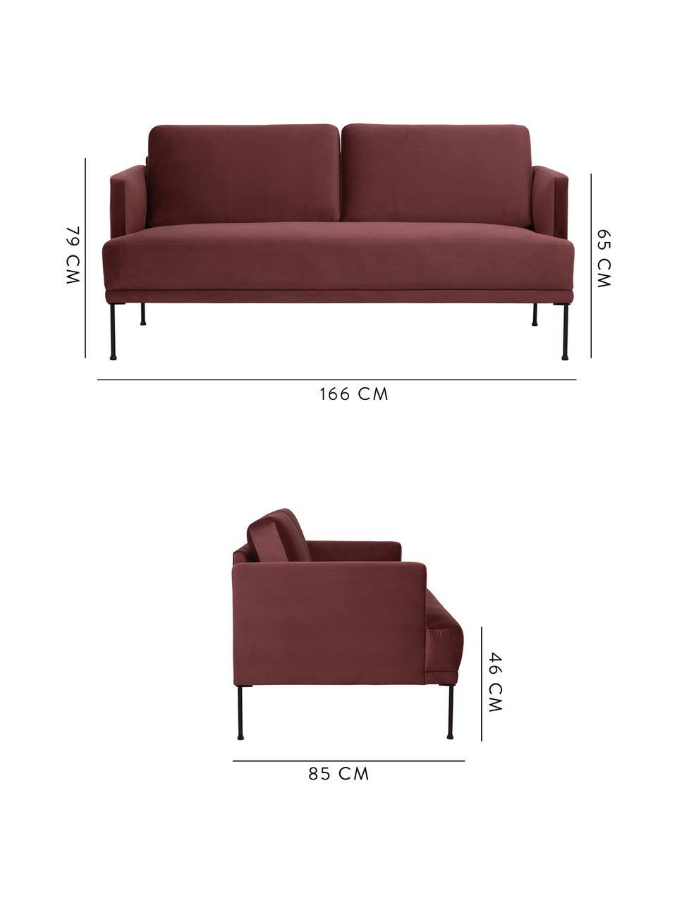 Sofa z aksamitu Fluente (2-osobowa), Tapicerka: aksamit (wysokiej jakości, Stelaż: lite drewno sosnowe, Nogi: metal malowany proszkowo, Aksamitny rudy, S 168 x G 83 cm