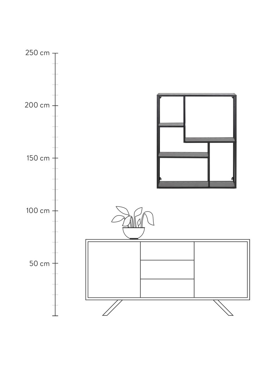 Wandregal Seaford aus Holz und Metall, Einlegeböden: Mitteldichte Holzfaserpla, Gestell: Metall, pulverbeschichtet, Schwarz, 75 x 91 cm