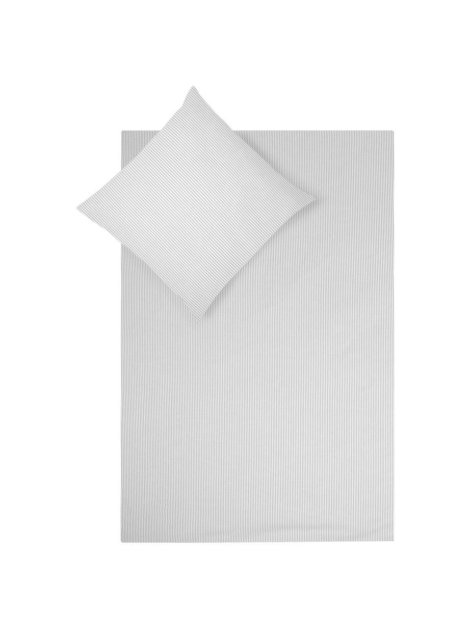Baumwoll-Bettwäsche Ellie in Weiß/Grau, fein gestreift, Webart: Renforcé Fadendichte 118 , Weiß, Grau, 135 x 200 cm + 1 Kissen 80 x 80 cm