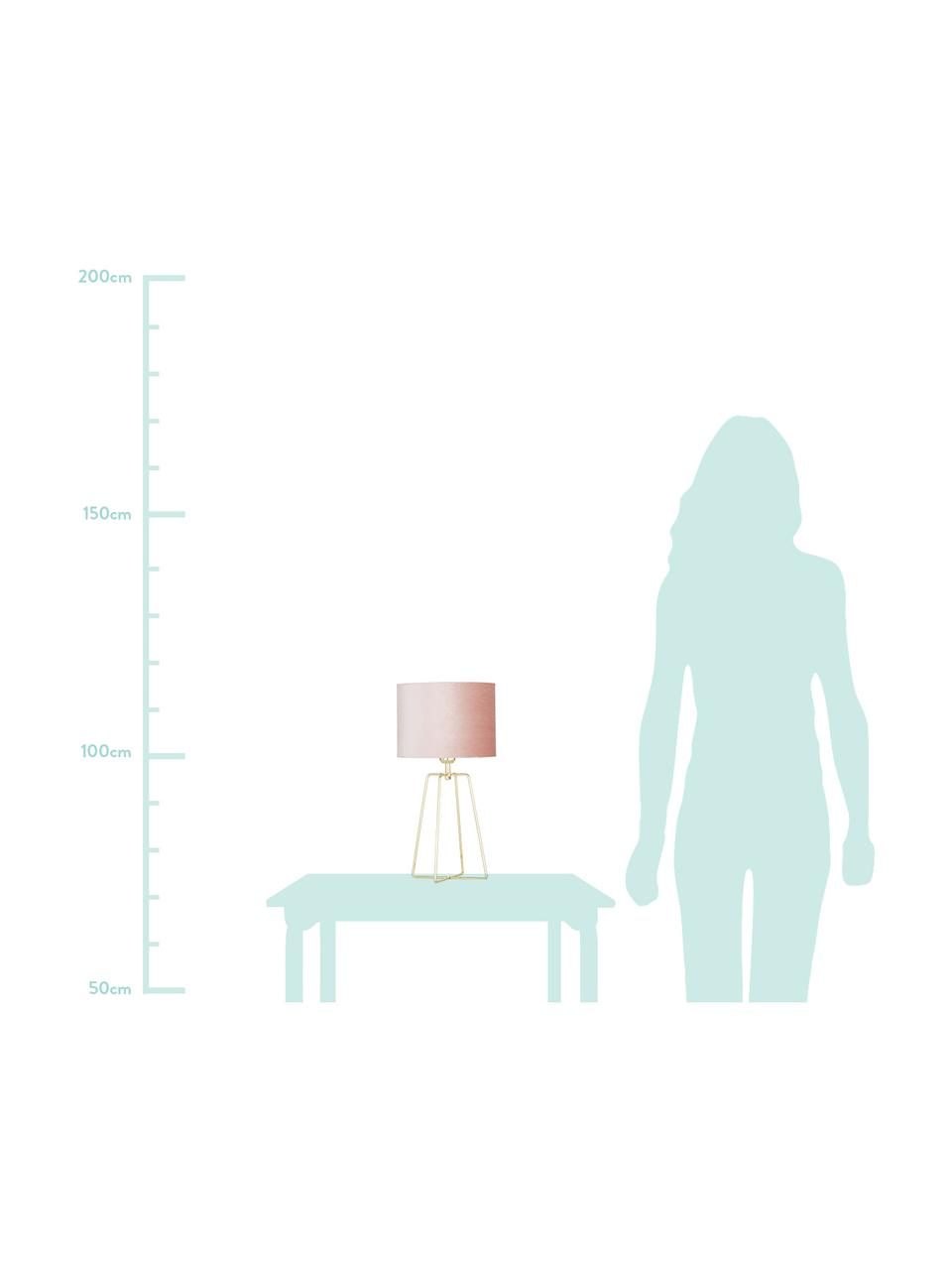 Lampada da tavolo con base dorata Karolina, Paralume: velluto, Base della lampada: metallo ottonato, Paralume: rosa cipria Base della lampada: ottone lucido Cavo: trasparente, Ø 25 x Alt. 49 cm